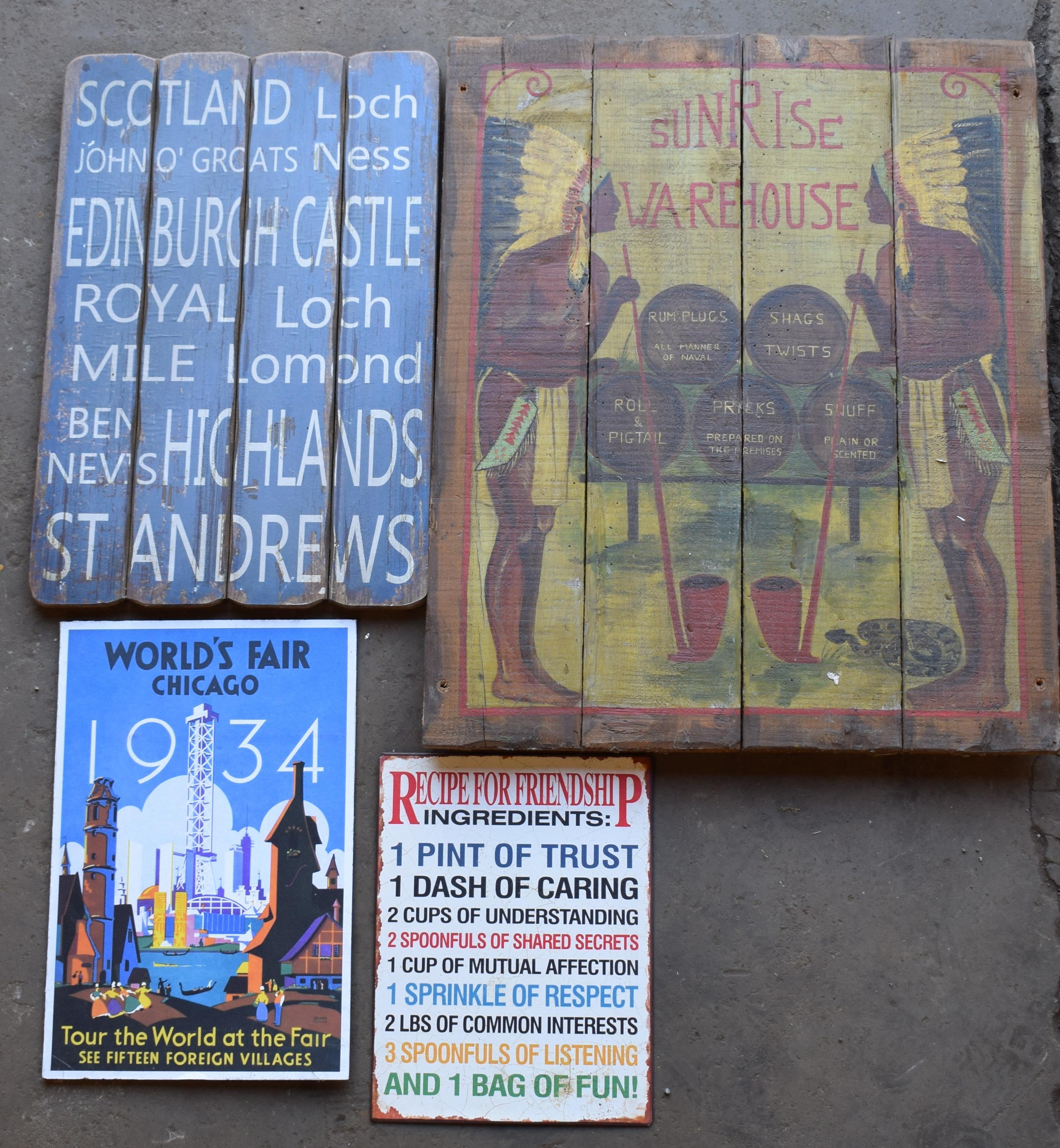 Four signs including wooden painted Sunrise warehouse, Scotland etc, largest 75 x 61cm