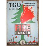Vintage enamel advertising sign 'Timber Growers Organisation Ltd Fire Danger, Private Woodlands', 55