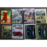 Eight farming interest metal advertising signs to include LandRover, Case, John Deere, Bedford OB