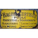 Vintage enamel advertising sign 'Bacon & Curtis Ltd, Poole Parkstone & Bournemouth', 46 x 91cm