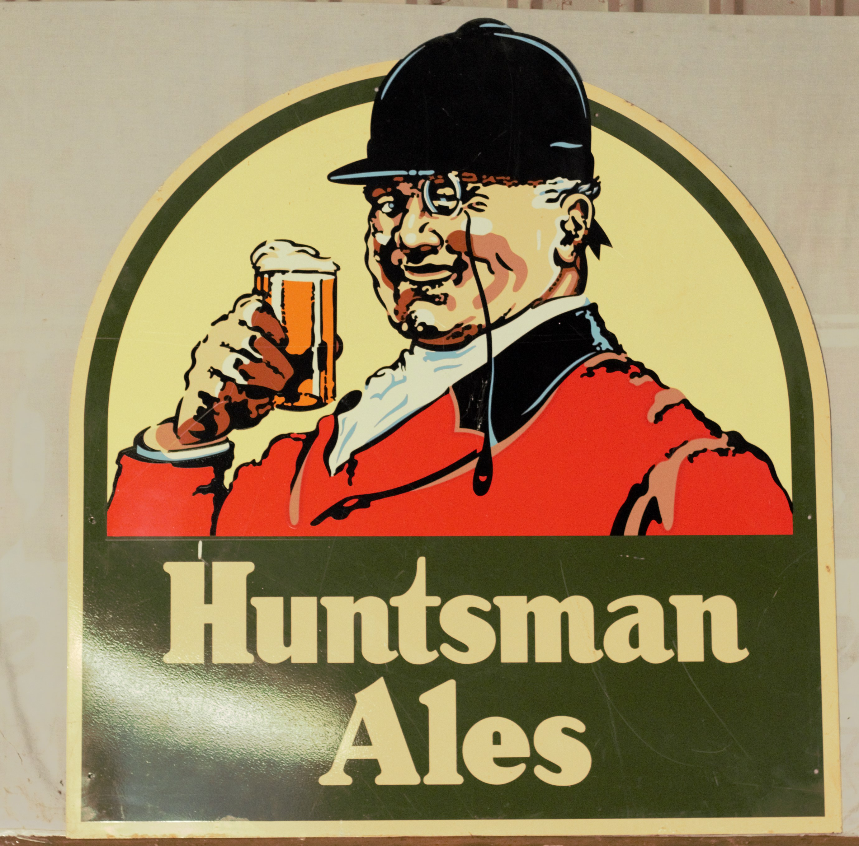 Two pub signs comprising Huntsman Ales & Greene King, largest 120 x 111cm - Image 2 of 3