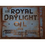 Vintage double sided enamel advertising sign 'Royal Daylight Oil', 46 x 61cm