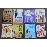 Eight metal advertising signs to include Breakfast at Tiffany's, Lobster Shack etc, each