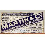 Vintage enamel advertising sign for Martin & Co. Cheltenham, 76 x 152cm