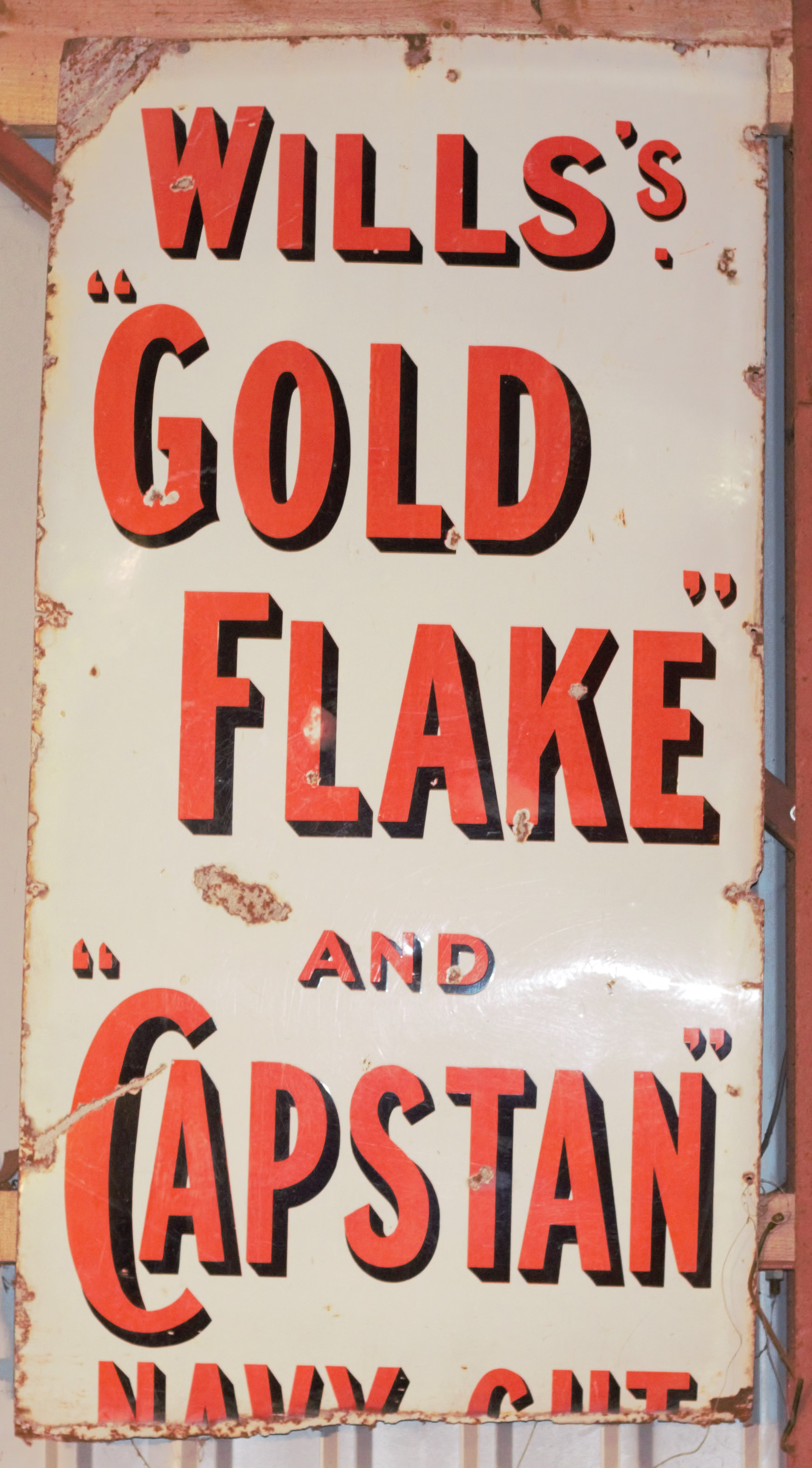 Vintage enamel advertising sign 'Wills's Gold Flake and Capstan Navy Cut', 153 x 79cm