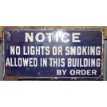 Vintage enamel no smoking sign, 30.5 x 61cm