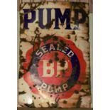 Vintage enamel advertising sign 'BP Sealed Pump', 130 x 91cm