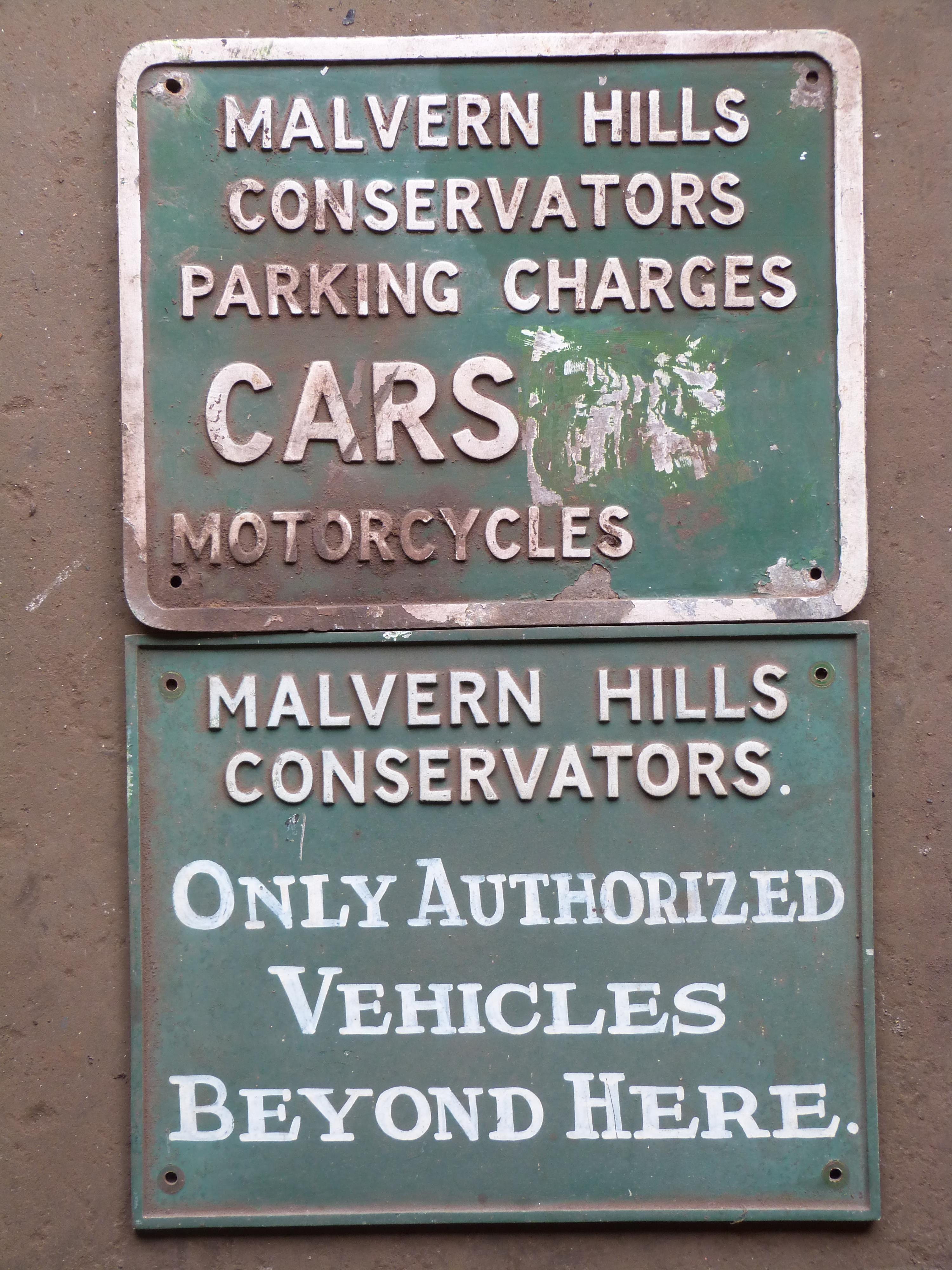 Two cast aluminium Malvern Hills Conservators signs, 30 x 38cm