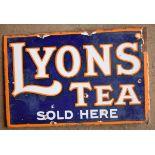 Vintage double sided enamel advertising sign 'Lyons' Tea', 30.5 x 46cm