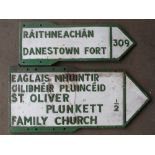 Two vintage Irish double sided cast aluminium signs comprising St. Oliver Plunkett family church &