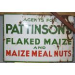 Vintage enamel advertising sign 'Pattinsons flaked maize and maize meal nuts', 61 x 92cm
