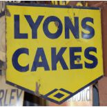 Vintage double sided enamel advertising sign 'Lyons Cakes', 40 x 45cm