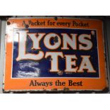 Vintage enamel advertising sign 'Lyons' Tea', 75 x 100cm