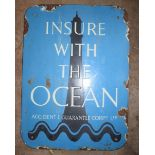 Vintage enamel advertising sign 'Insure with the Ocean' with lighthouse background, 45 x 33cm