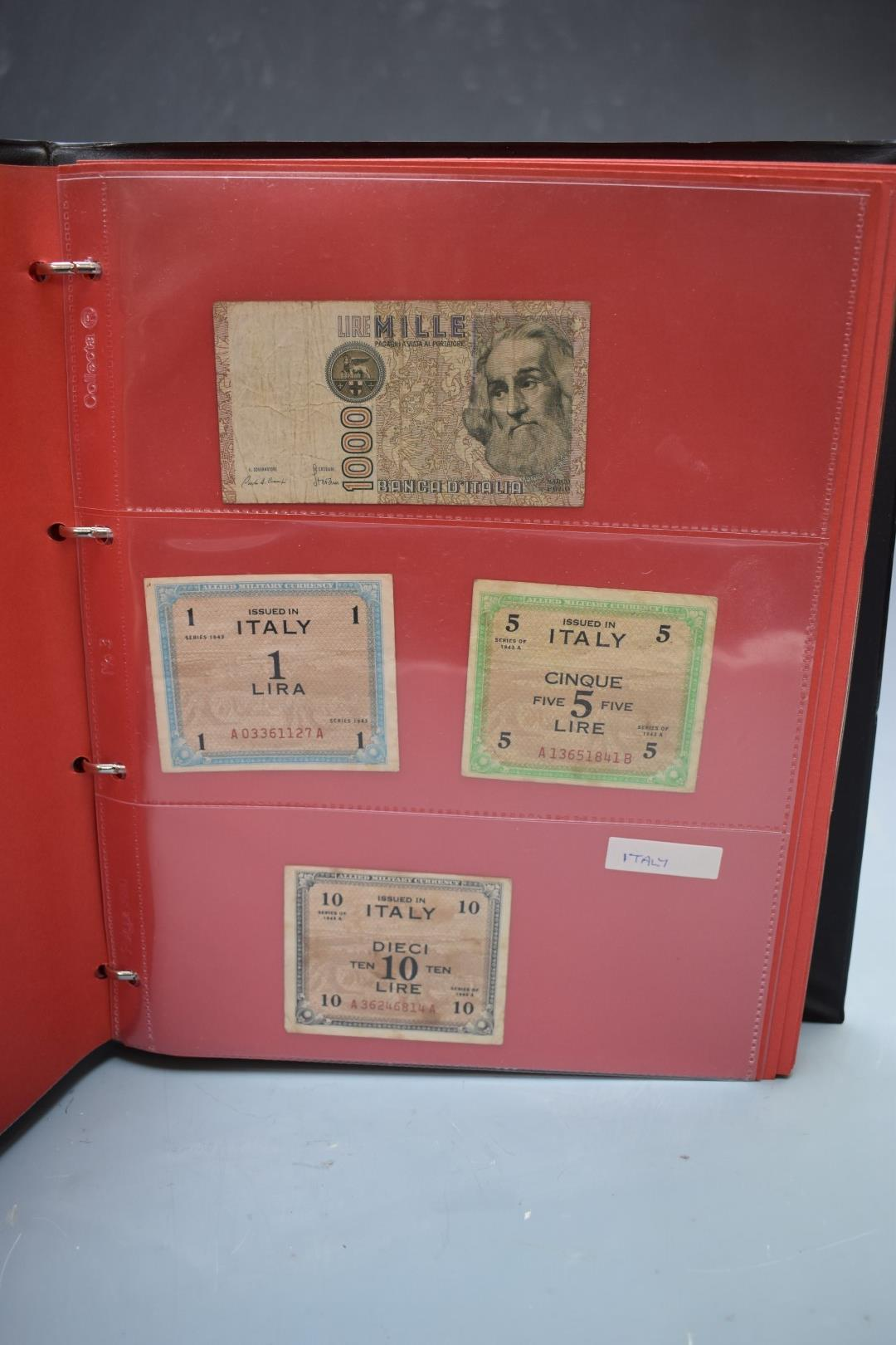 An amateur collection of world banknotes in two albums including Bank of Ireland, some used, many in - Image 9 of 13