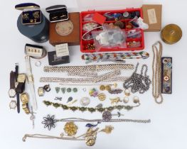 A collection of costume jewellery including paste set belt, watches, Sphinx brooch, etc