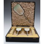 Art Deco Mappin & Webb white guilloché enamel hallmarked silver dressing table set comprising hand