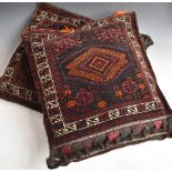 A pair of North African camel bags / cushions, 70 x 65cm