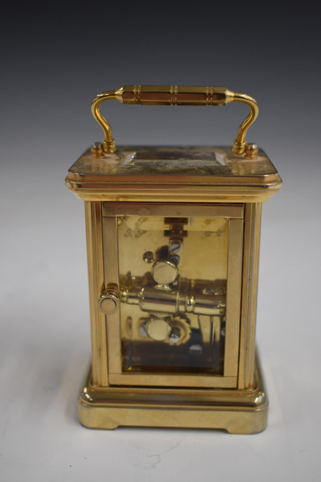 Angelus miniature brass carriage clock with enamelled Roman dial and Breguet style hands, 7.5cm - Image 4 of 5
