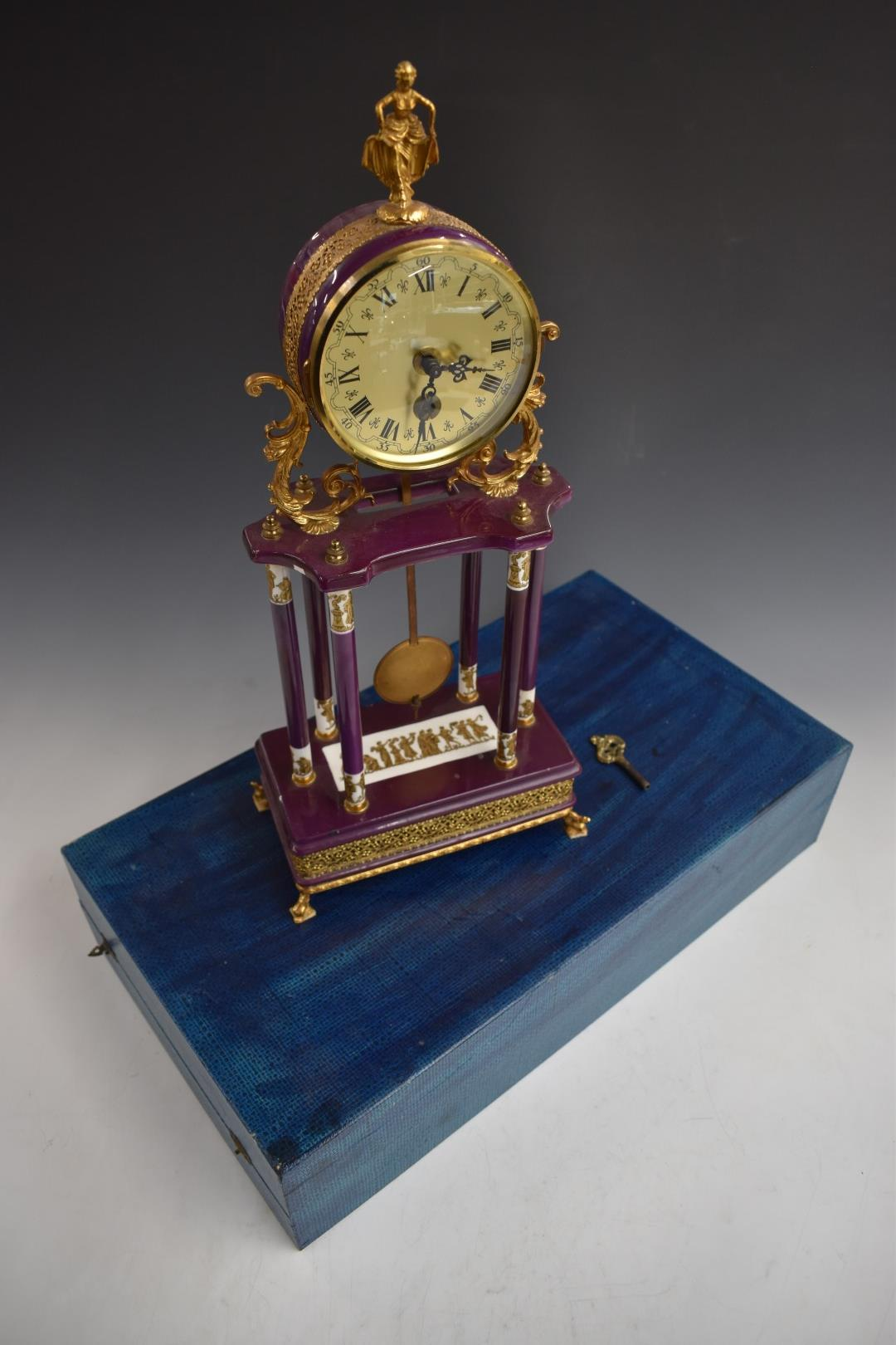 Continental style mantel clock with gilt metal mounts, H48cm, in fitted box. - Image 4 of 5