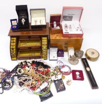 A collection of costume jewellery including silver earrings, necklaces, brooches, etc