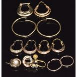 Three pairs of 9ct gold earrings and a collection of other 9ct gold earrings, 6.8g