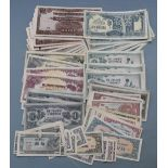 A collection of over ninety WW2 Japanese occupation puppet state banknotes