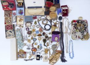 A collection of costume jewellery including vintage watches, enamel, brooches including vintage,