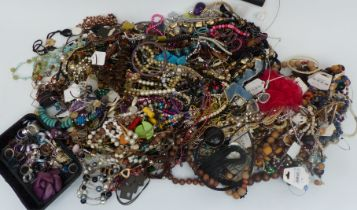A collection of costume jewellery including bracelets, necklaces, etc