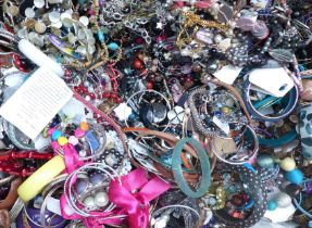 A collection of costume jewellery including necklaces, bangles, bracelets, etc