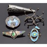Two silver and enamel brooches, Charles Horner scarab beetle brooch, a posy holder and a section