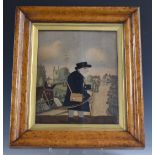 19thC felt appliqué and watercolour collage picture, probably by G Smart, depicting Mr Bright,