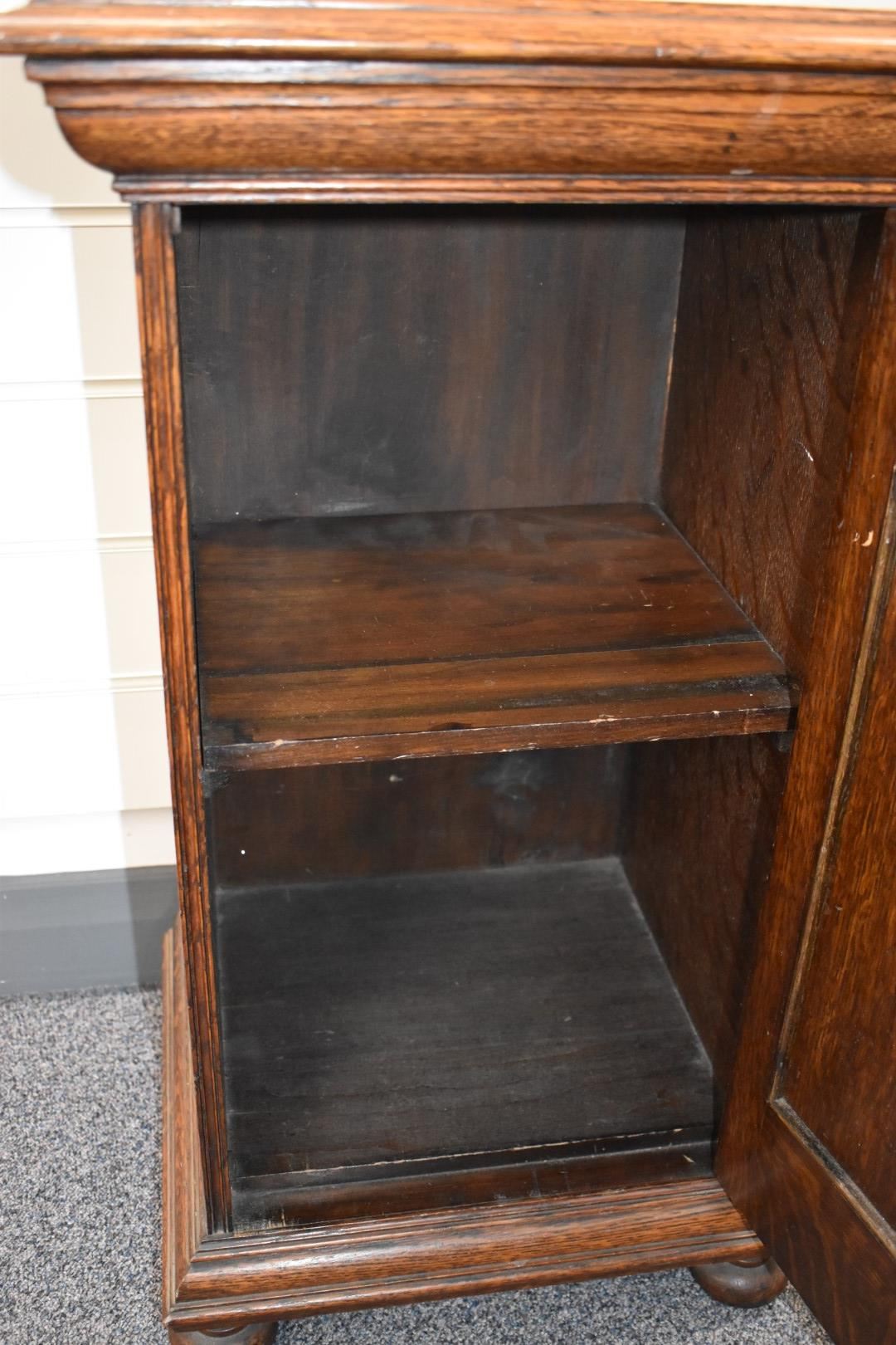 Late 19thC or early 20thC oak bedside cabinet, label to interior of door for J Farrar & Sons, - Image 5 of 6