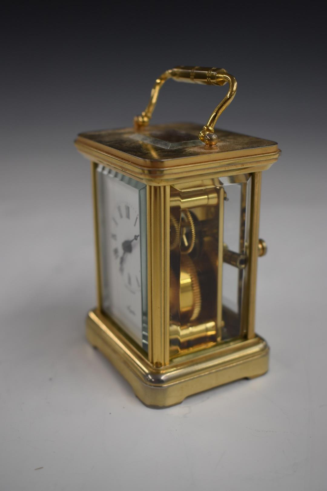 Angelus miniature brass carriage clock with enamelled Roman dial and Breguet style hands, 7.5cm - Image 3 of 5