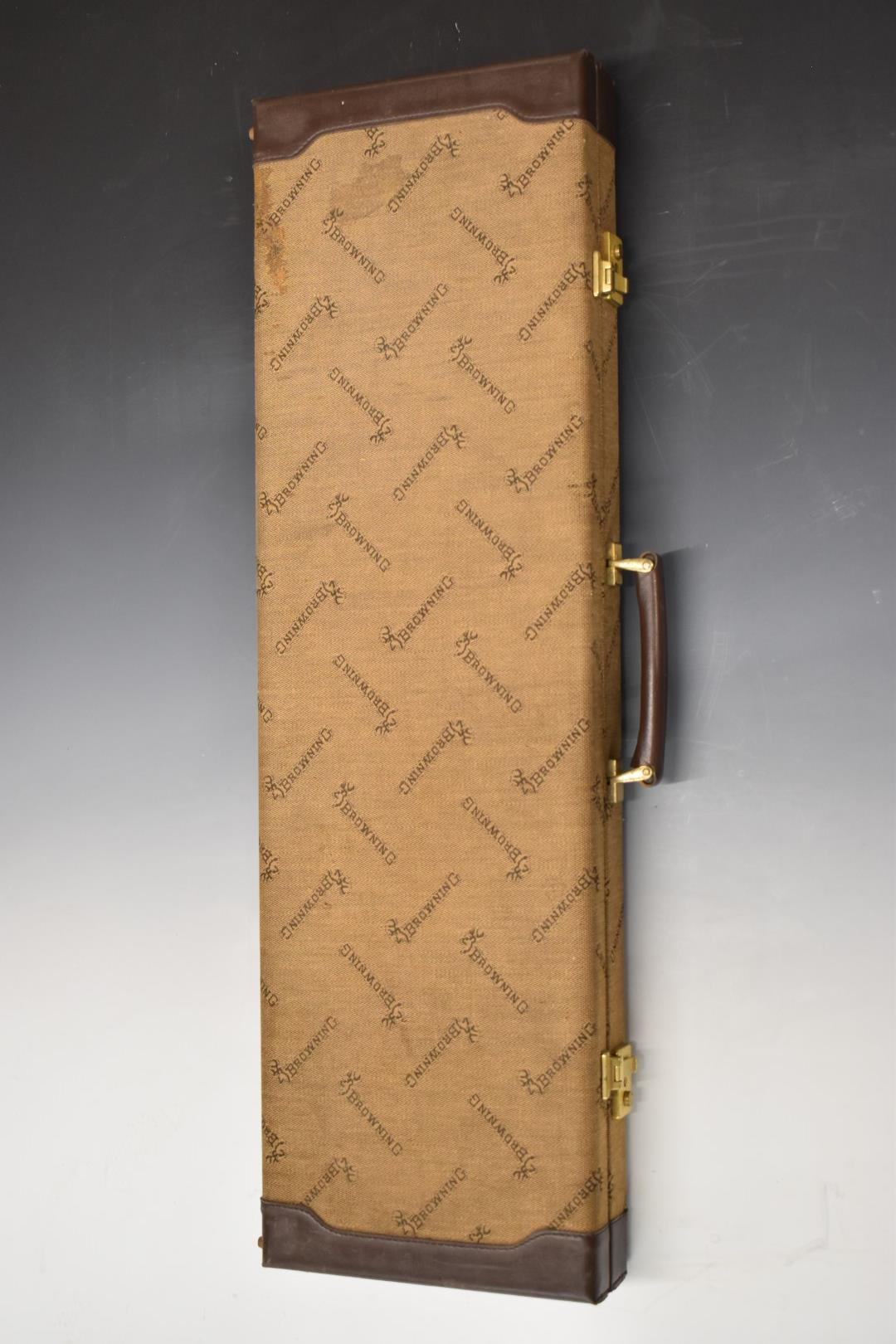 Browning canvas and leather gun case with brass locks, carry handle, padded suede interior and