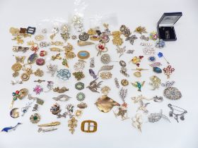 A collection of vintage brooches including silver, diamanté, enamel, etc