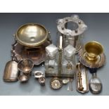 Silver plated ware including Elkington salver, Walker and Hall, spirit flask, tantalus, pestle and