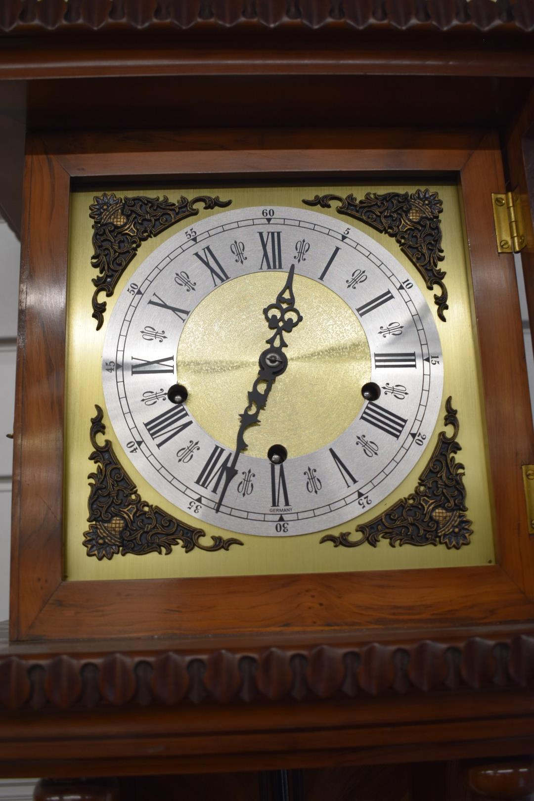 Late 20thC German pillar wall clock with three train chiming movement, carvedmarquetry inlaid - Image 2 of 4