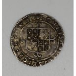 Charles II hammered crowned bust third issue silver twopence with inner circles crown mint mark,