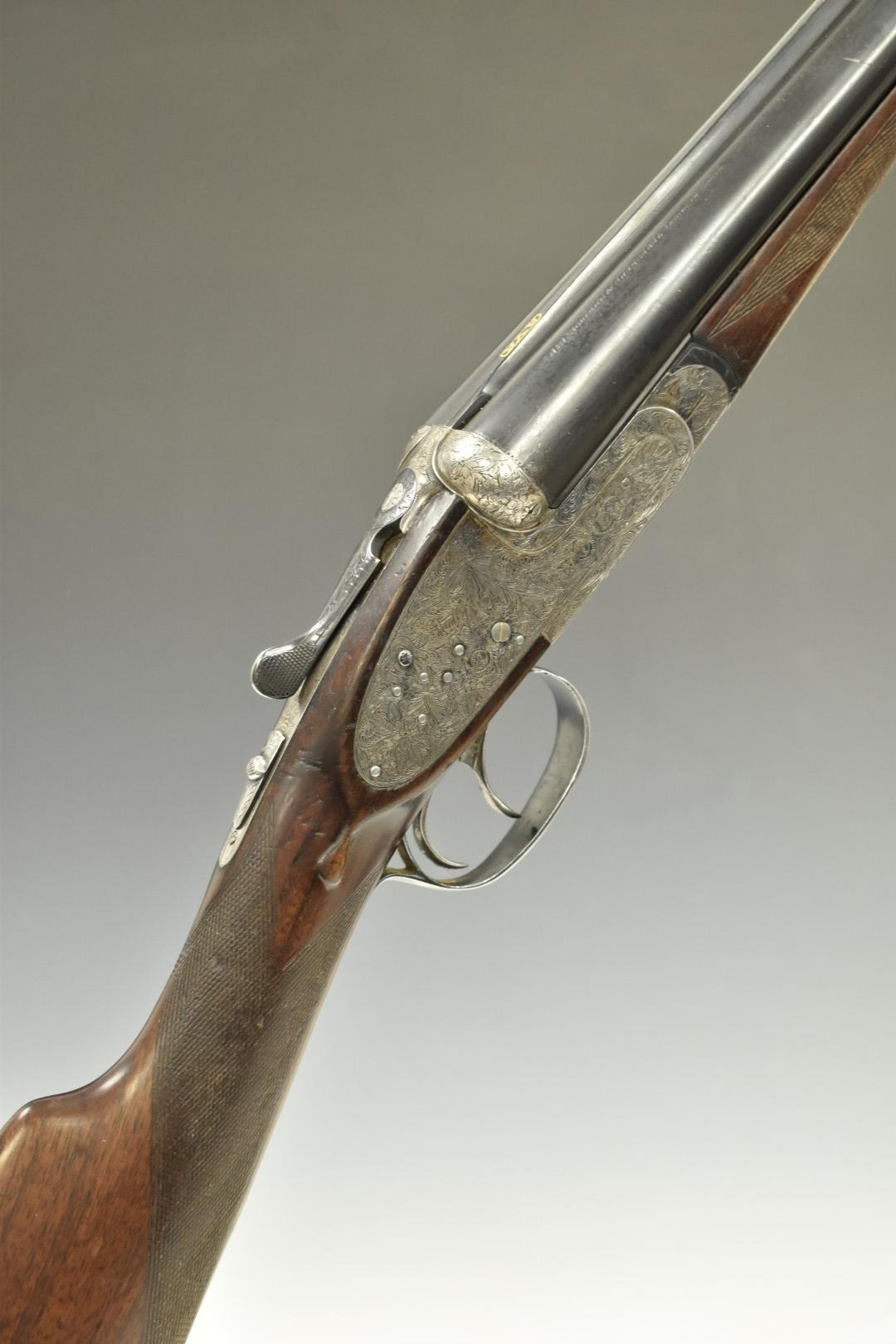 AYA XXV sidelock side by side ejector shotgun with hand detachable locks, all over floral and