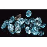 18 round cut loose blue zircons, 7.2g