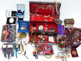A collection of costume jewellery including necklaces, brooches, silver earrings, etc