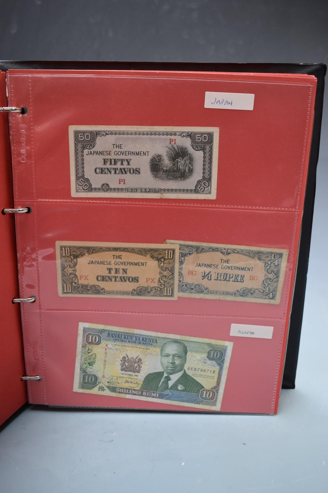 An amateur collection of world banknotes in two albums including Bank of Ireland, some used, many in - Image 10 of 13