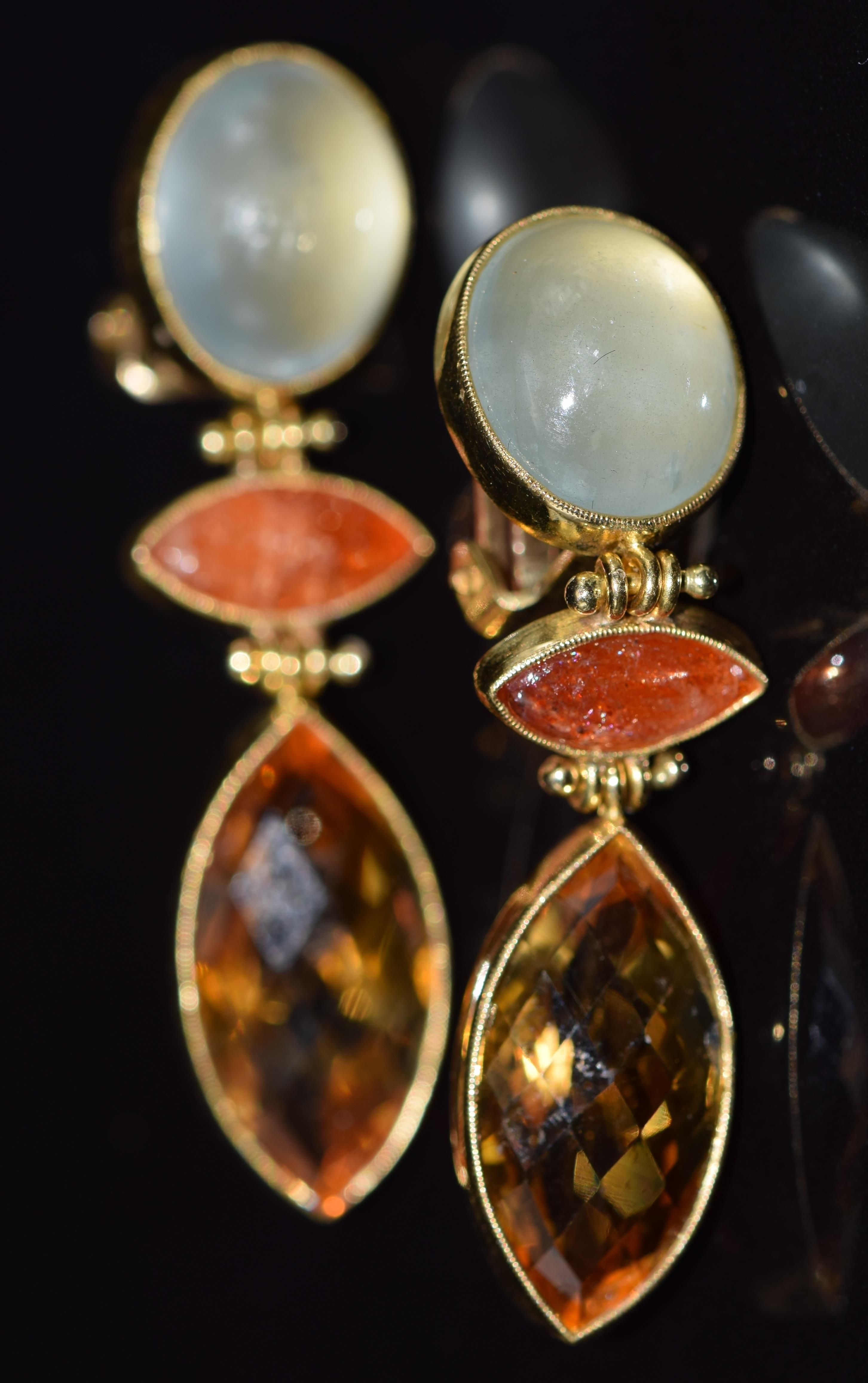 A pair of 18ct gold earrings set with citrine, chrysoberyl and sunstone, 13.5g