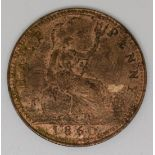 Queen Victoria 1860young head bronze halfpenny, beaded borders, EF with lustre