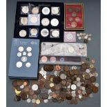 An amateur coin collection including Royal Mint 2017 United Kingdom annual coin set