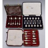 Three cased sets of hallmarked silver coffee or teaspoons, weight 198g