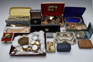A collection of jewellery including a 9ct gold watch strap (17g), silver bracelet, faux pearls,