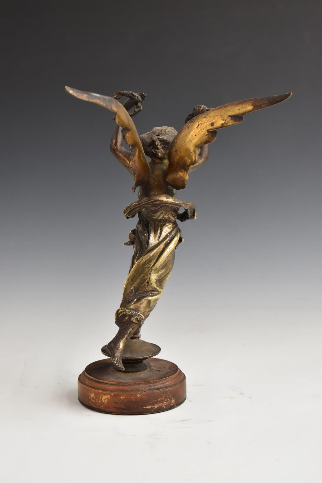 Bronzed winged lady with flowing robe, H 25cm, on turned wooden base, possibly originally a - Image 4 of 6
