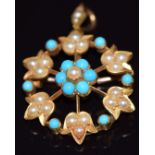 Edwardian pendant/ brooch set with seed pearls and turquoise, 5.5g, 2.5cm